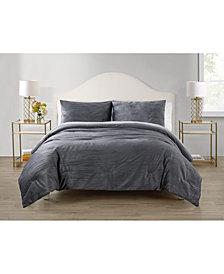 Elegant Estates Sadie Crinkle 3 Piece Velvet Comforter Set, King