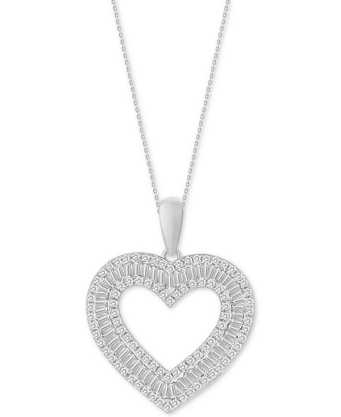 "Macy's - Diamond Heart 18"" Pendant Necklace (1/2 ct. t.w.) in 10k White Gold"