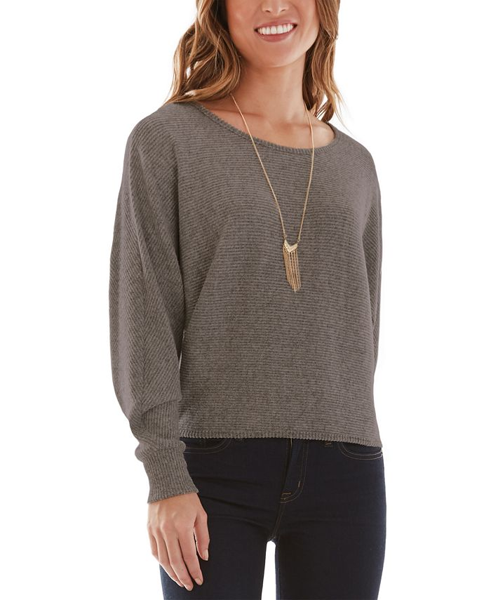 BCX - Juniors' Rib-Knit Sweater with Necklace
