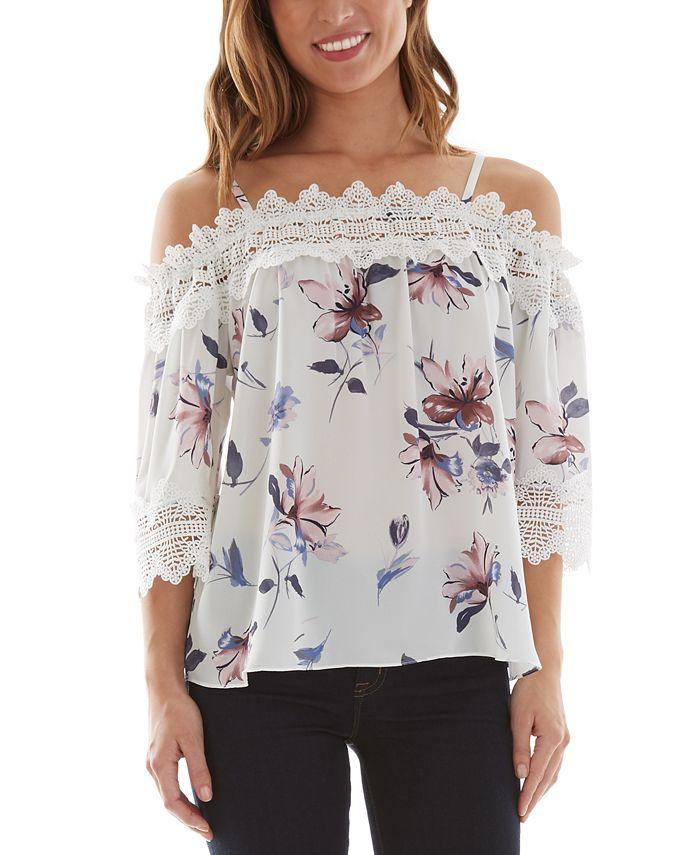 BCX - Juniors' Floral-Print Crochet-Trim Cold-Shoulder Top