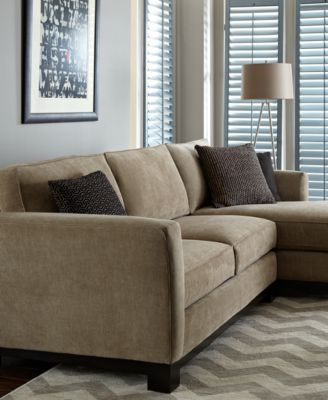 Kenton Fabric 2Piece Chaise Sectional Apartment Sofa Furniture