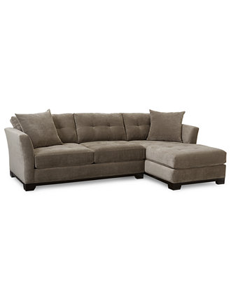 Elliot Fabric Microfiber 2 Piece Chaise Sectional Sofa