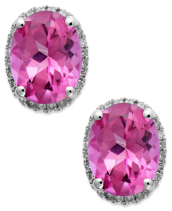 Macy's - 14k White Gold Pink Topaz (4 ct. t.w.) and Diamond (1/6 ct. t.w.) Stud Earrings