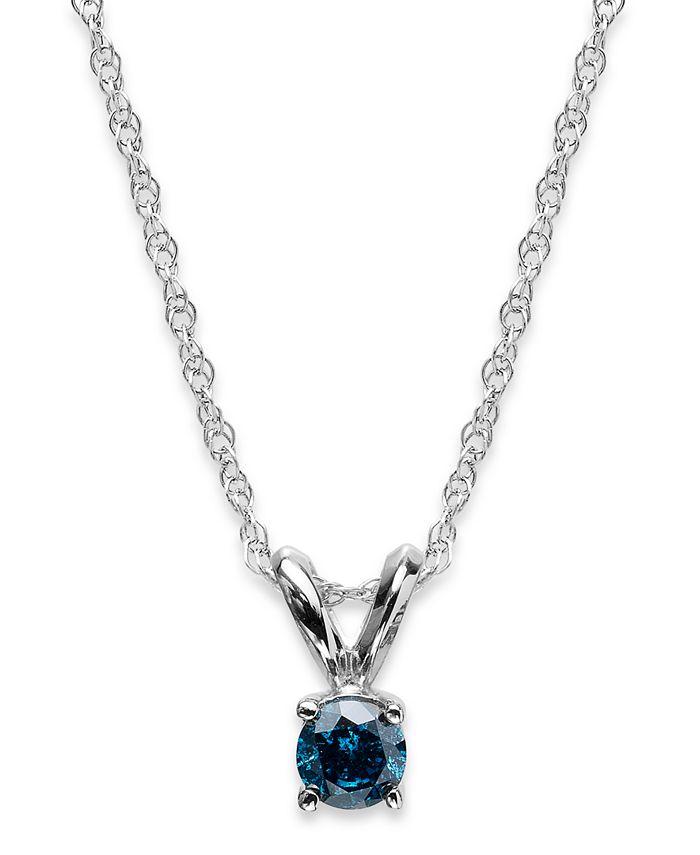 Macy's - 10k White Gold Blue Diamond Pendant Necklace (1/6 ct. t.w.)
