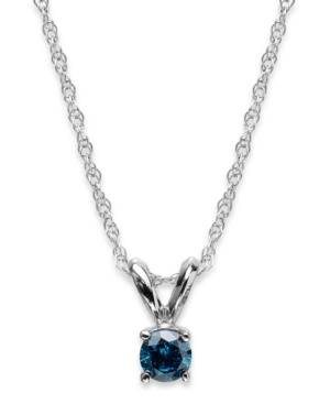 10k White Gold Blue Diamond Pendant Necklace (1/6 ct. t.w.)