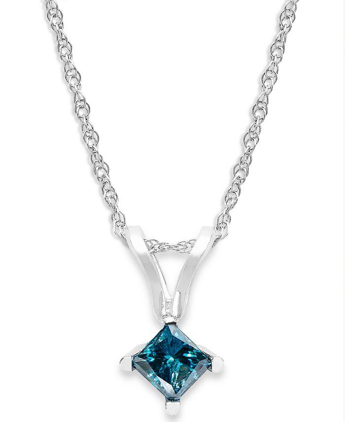 Macy's - 10k White Gold Blue Diamond Pendant Necklace (1/4 ct. t.w.)