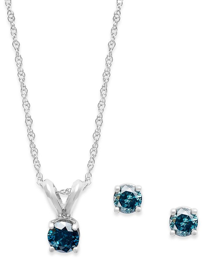 Macy's - 10k White Gold Blue Diamond Necklace and Earring Set (1/5 ct. t.w.)