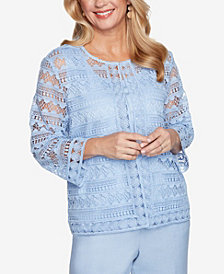 Plus Size French Bistro Solid Lace Two for One Top