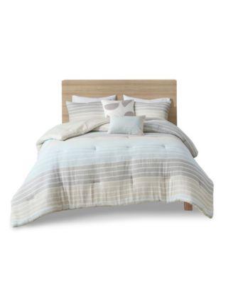 Hayes King/California King Woven Stripe Cotton Gauze Comforter, Set of 5
