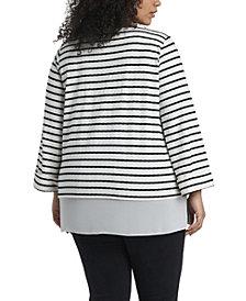 Women's Plus Size Long Sleeve Stripe Tunic