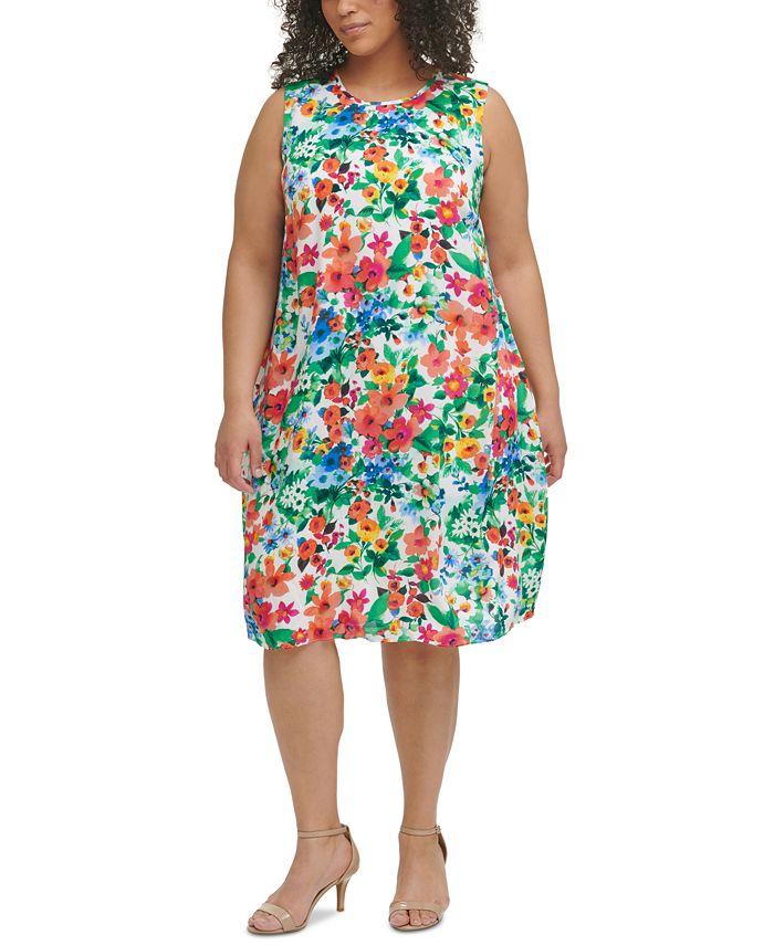 Calvin Klein - Plus Size Floral-Print Trapeze Challis Dress