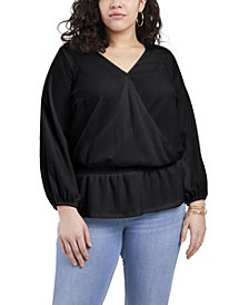 Women's Plus Size Long Sleeve Cross Front Knit Top