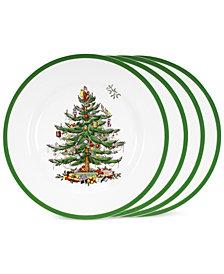 Spode Christmas Tree Dinner Plates, Set of 4