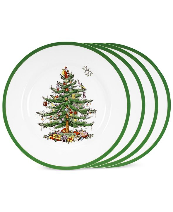Spode Christmas Tree Dinner Plates, Set of 4