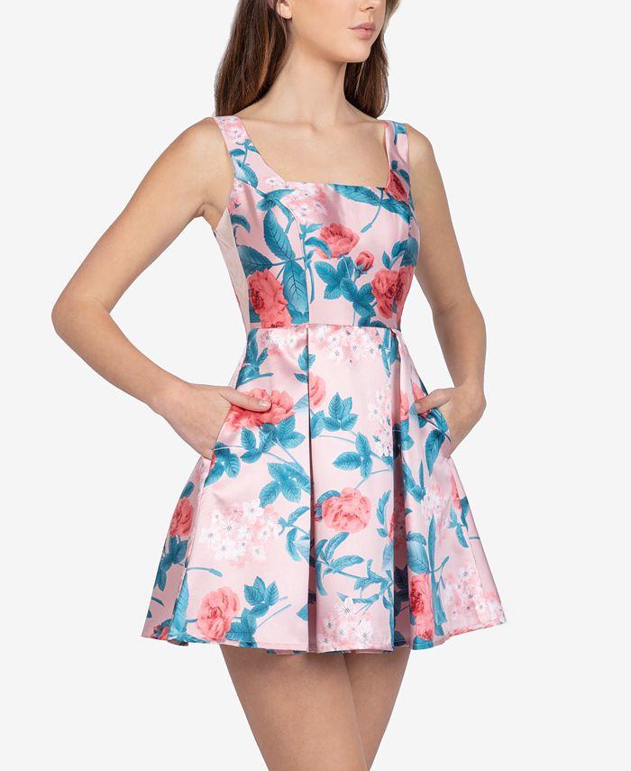 B Darlin - Juniors' Floral-Print A-Line Dress