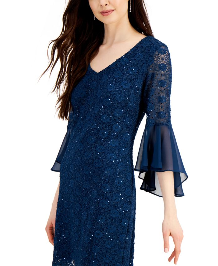 Connected Bell-Sleeve Sequined Lace Dress & Reviews - Dresses - Women - Macy's