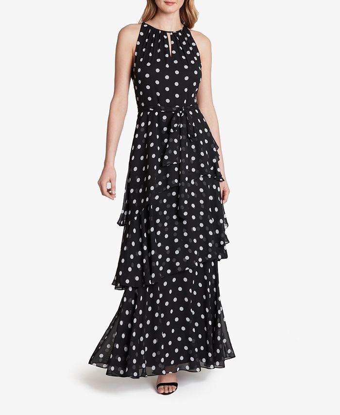 Tahari ASL - Dot-Printed Tiered Chiffon Gown