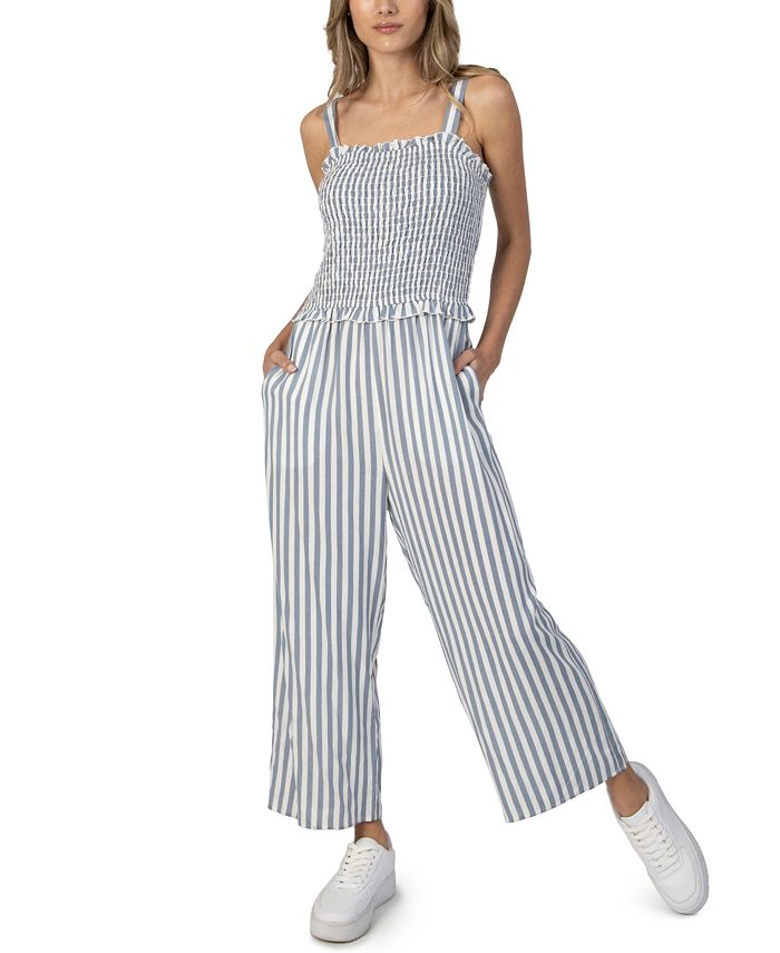 Speechless - Juniors' Smocked Striped Jumpsuit