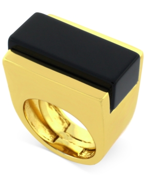 Vince Camuto Gold-Tone Onyx Stone Cocktail Ring