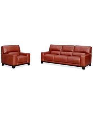 Luke II Leather 2 Piece Sofa Set (Sofa & Chair) Furniture Macy's
