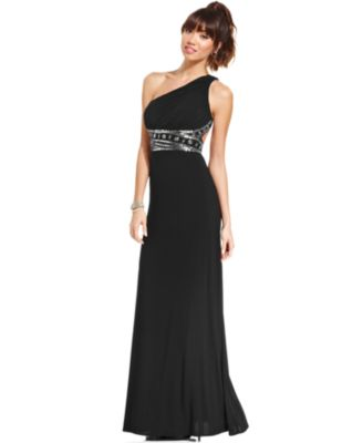 Hailey Logan by Adrianna Papell Juniors\' One-Shoulder Gown ...