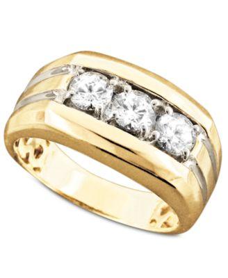 Men s 14k Gold Ring Diamond Three Stone 1 ct t w Rings