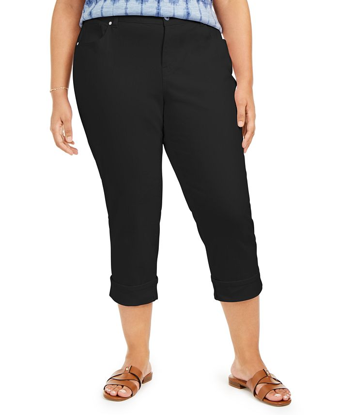 Style & Co - Plus Size Tummy-Control Cropped Cuffed Jeans