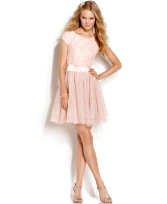 Trixxi Juniors Dress Cap Sleeve Sequin Tulle Dresses Women