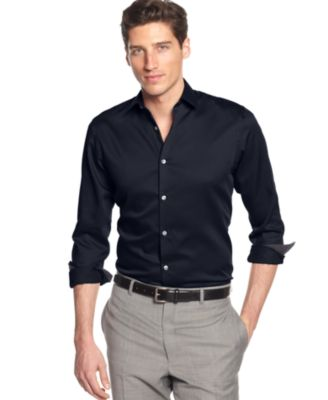 Alfani BLACK Marion Texture Shirt - Casual Button-Down Shirts ...