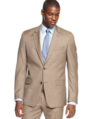 Shaquille O'Neal Light Brown Sharkskin Jacket - Suits & Suit ...