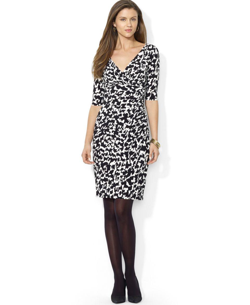 Lauren Ralph Lauren Petite Long Sleeve Ruched Jersey Dress   Dresses   Women