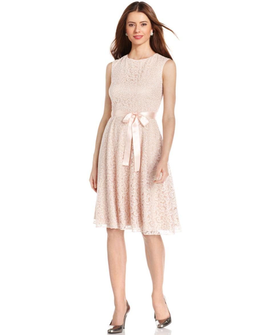 Tahari by ASL Sleeveless Glitter Lace Dress   Dresses   Women