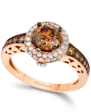 Le Vian Chocolate and White Diamond Engagement Ring in 14k Rose Gold (1-5/8 ct. t.w.)