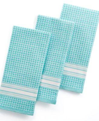 Martha Stewart Collection Waffle Weave Set of 3 Aqua Kitchen Towels