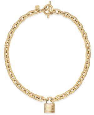 Michael Kors Gold-Tone Padlock Link Necklace