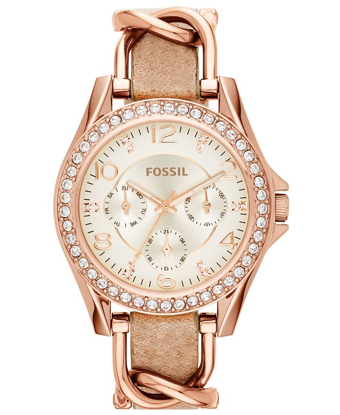 Fossil - Women's Riley Rose Gold-Tone Chain and Bone Leather Strap Watch 38mm ES3466