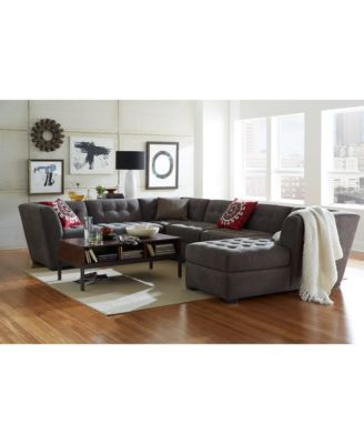 Roxanne Fabric 6-Piece Modular Sectional Sofa (2 Corner Units, 3 Armless Chairs & Ottoman)