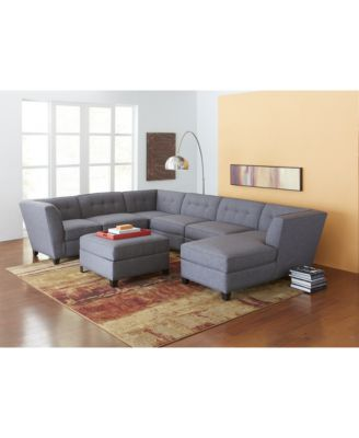 harper fabric 6piece modular sectional sofa square corner unit onearm