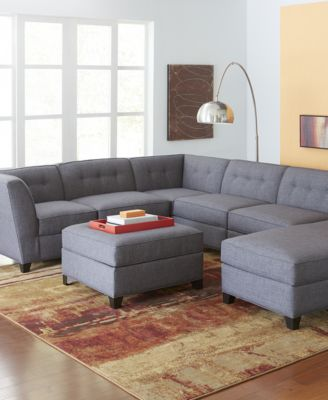 Harper fabric 6 piece modular sectional sofa square for Harper fabric modular sectional sofa 6 piece