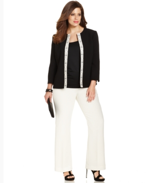 Tahari by ASL Plus Size Beaded Jacket Pantsuit