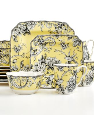 222 Fifth Adelaide Yellow Square 16-Pc. Set, Service for 4