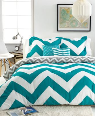 CLOSEOUT! Chevron Teal 5 Piece Full/Queen Comforter Set - Bed in a ...