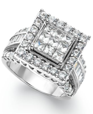 diamond square engagement ring in 14k white gold 3 ct tw - Wedding Rings Macys