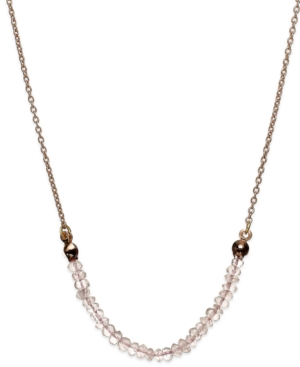 Studio Silver - Rose Quartz Beaded Frontal Necklace in 18k Rose Gold over Sterling Silver (1/5 ct. t.w.)