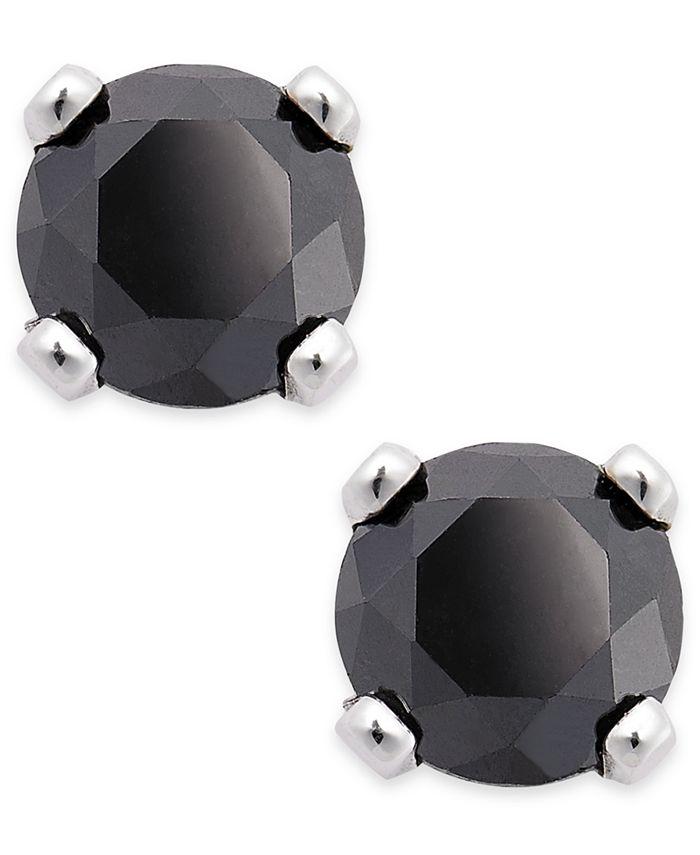 Macy's - Black Diamond Round Stud Earrings in 10k White Gold (1/6 ct. t.w.)