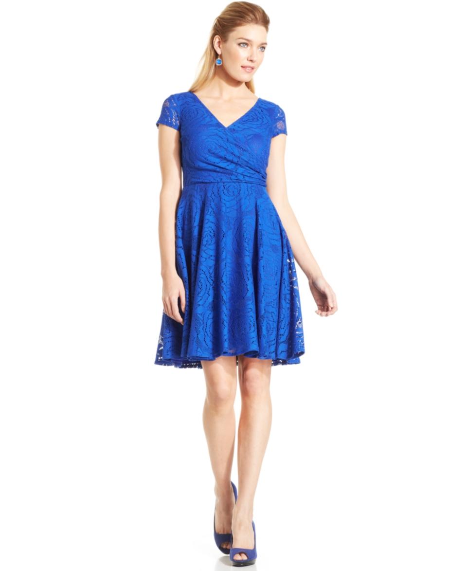 Maggy London Short Sleeve Lace Dress   Dresses   Women