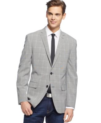 Bar III Sport Coat Light Grey Seersucker Glen Plaid Slim Fit