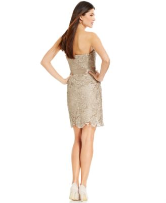 Adrianna Papell Strapless Lace Sheath - Women's Brands - Women ...