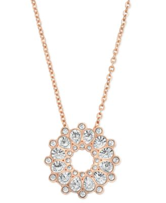 Swarovski Rose GoldTone Crystal Pendant Necklace Fashion Jewelry