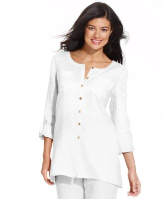JM Collection Collarless Button-Down Linen Shirt - Women's Brands ...